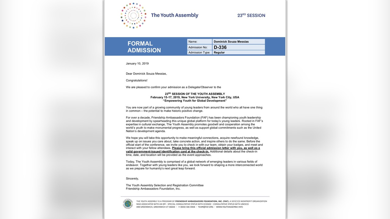 Help Me Go to the 23rd Youth Assembly at NYU! by Dominick