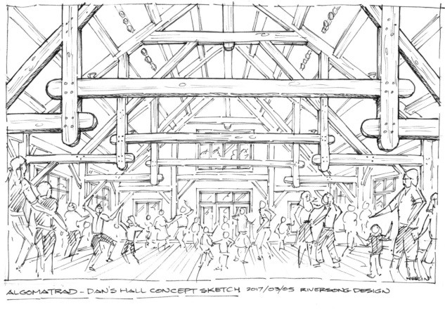Concept sketch of four-season timber-frame performance hall