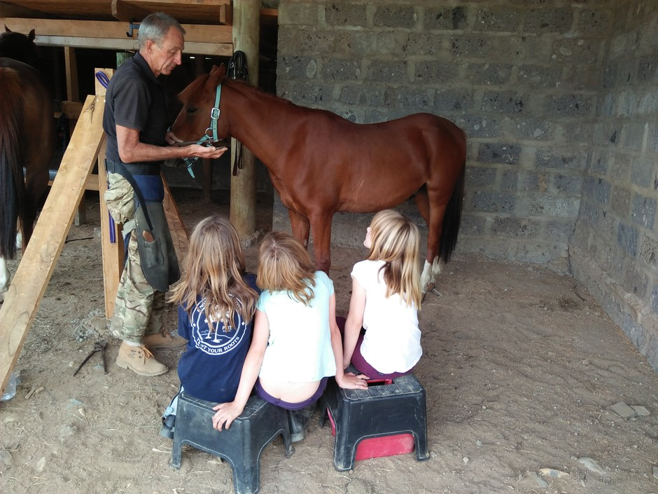 Kids lesson in Farriery at Altitude