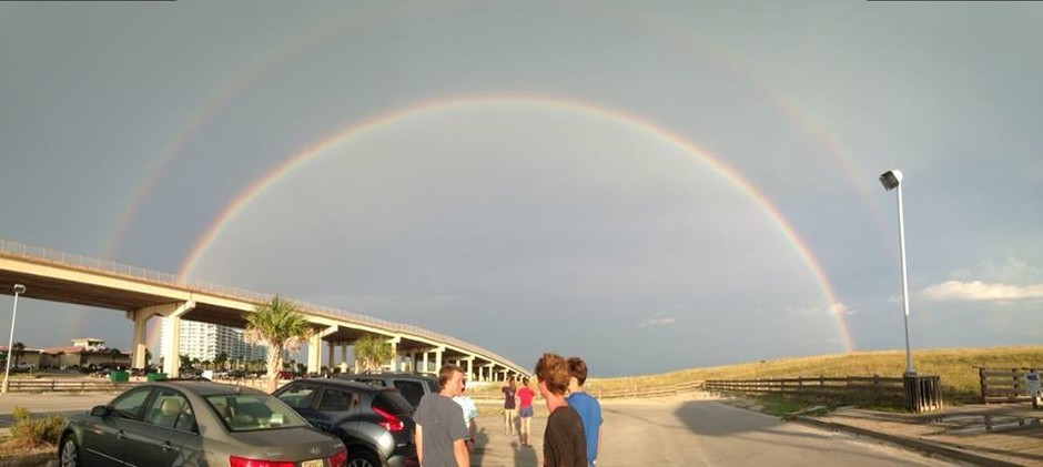 A beautiful double rainbow sighted as I was on a church service retreat