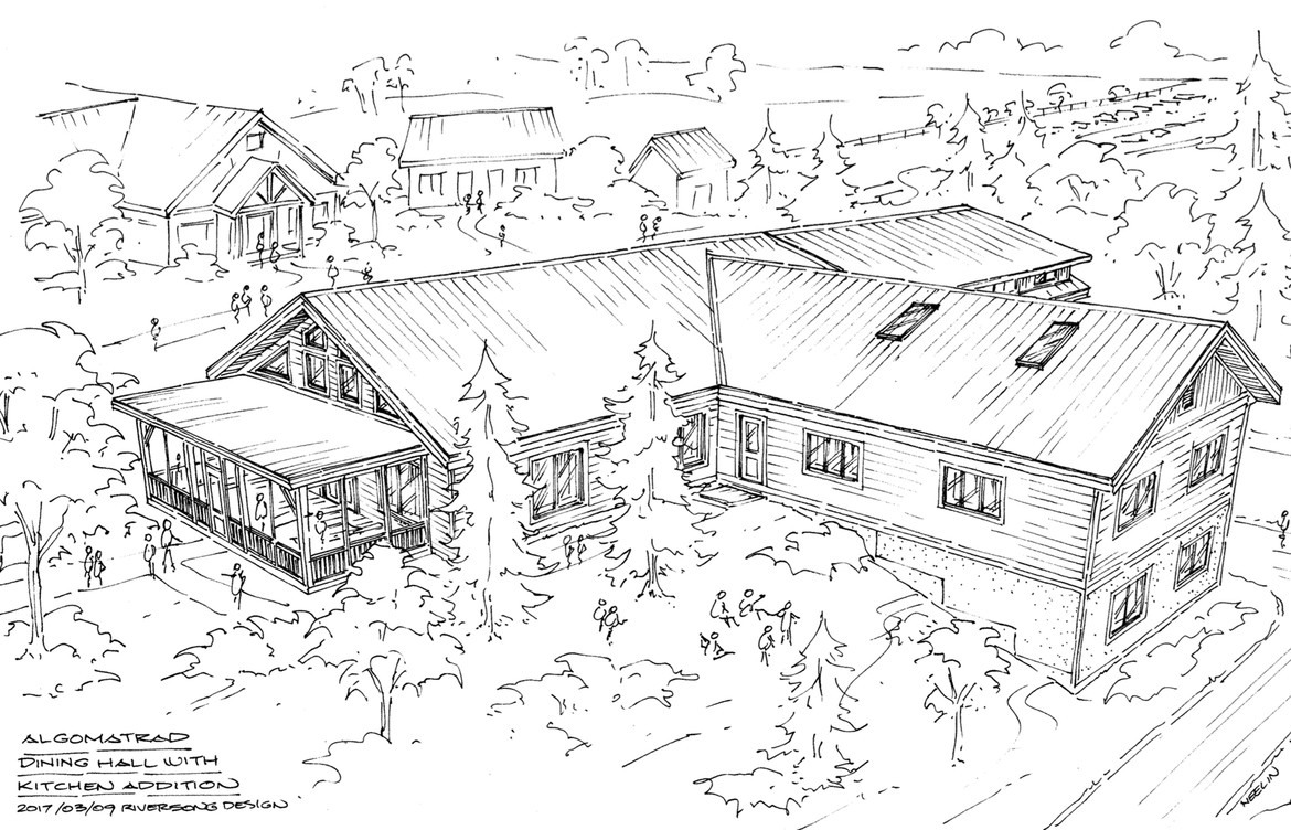 Sketch of dining hall with kitchen addition