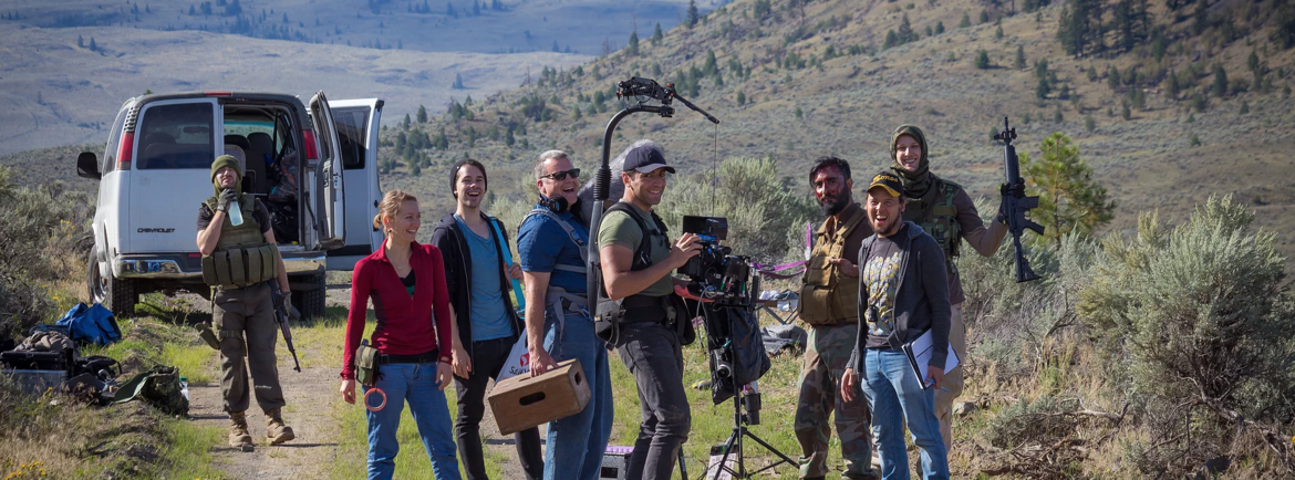The crew shooting in the deserts of Kamloops