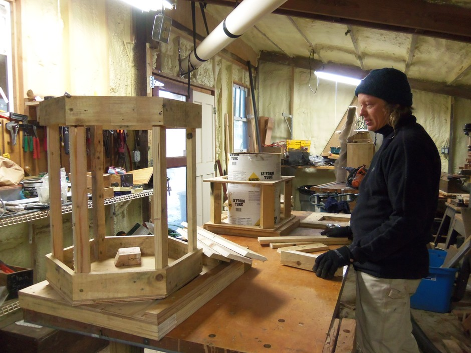 Barry in his workshop creating the hiveboxes