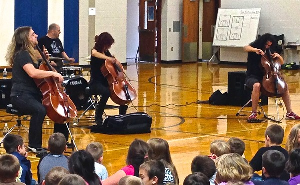 Cello Fury Assembly Concert in AC Valley Elementary gymnasium