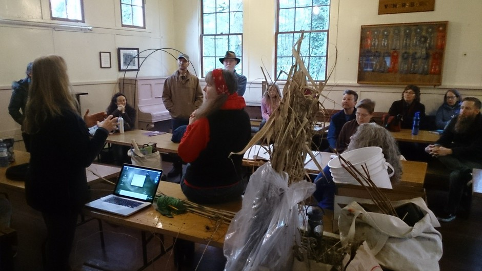Jacqueline instructing at a Preservation Beekeeping meeting & workshop in rural WA