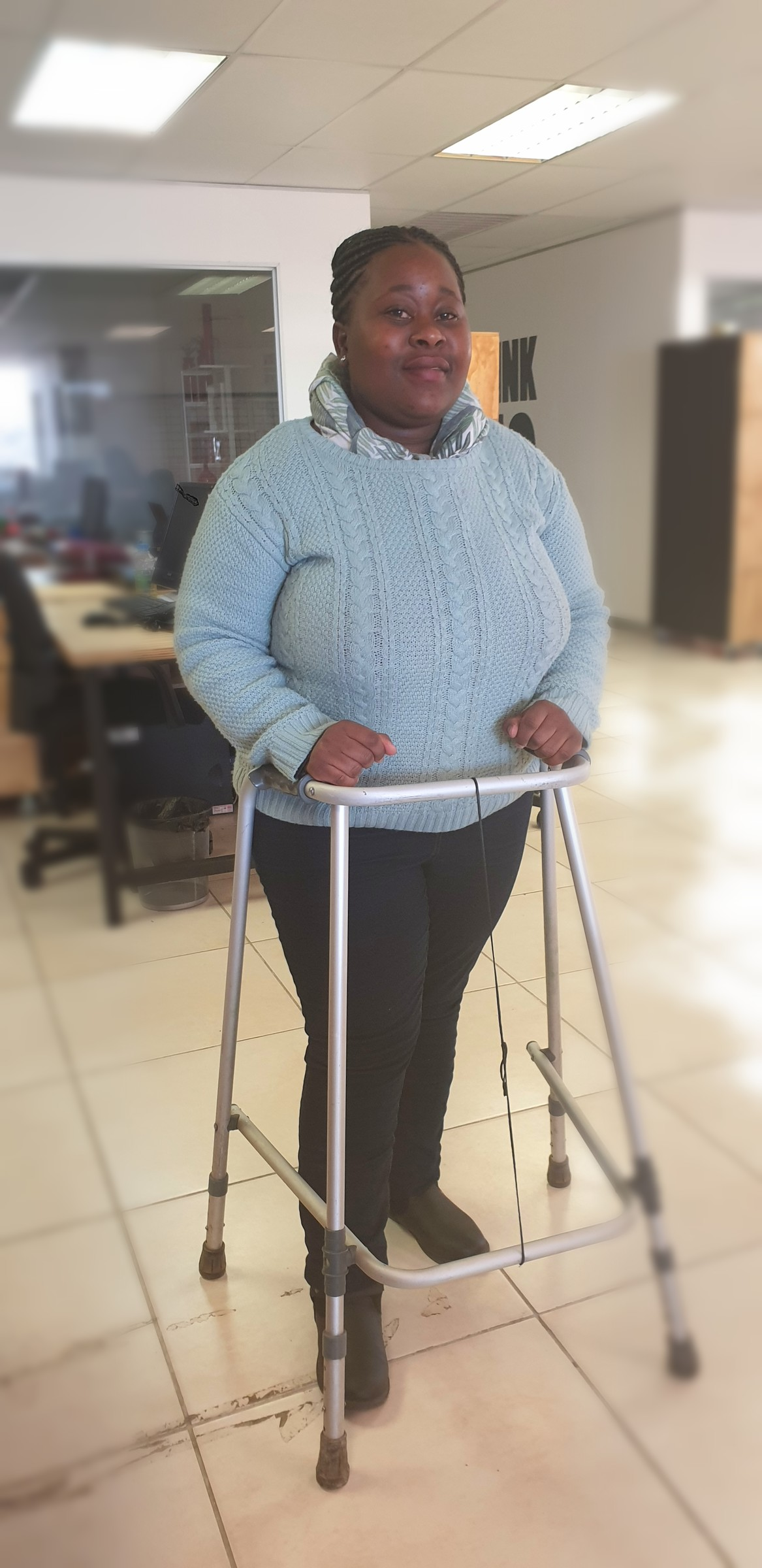Mpho sharing her happy vibes at the office