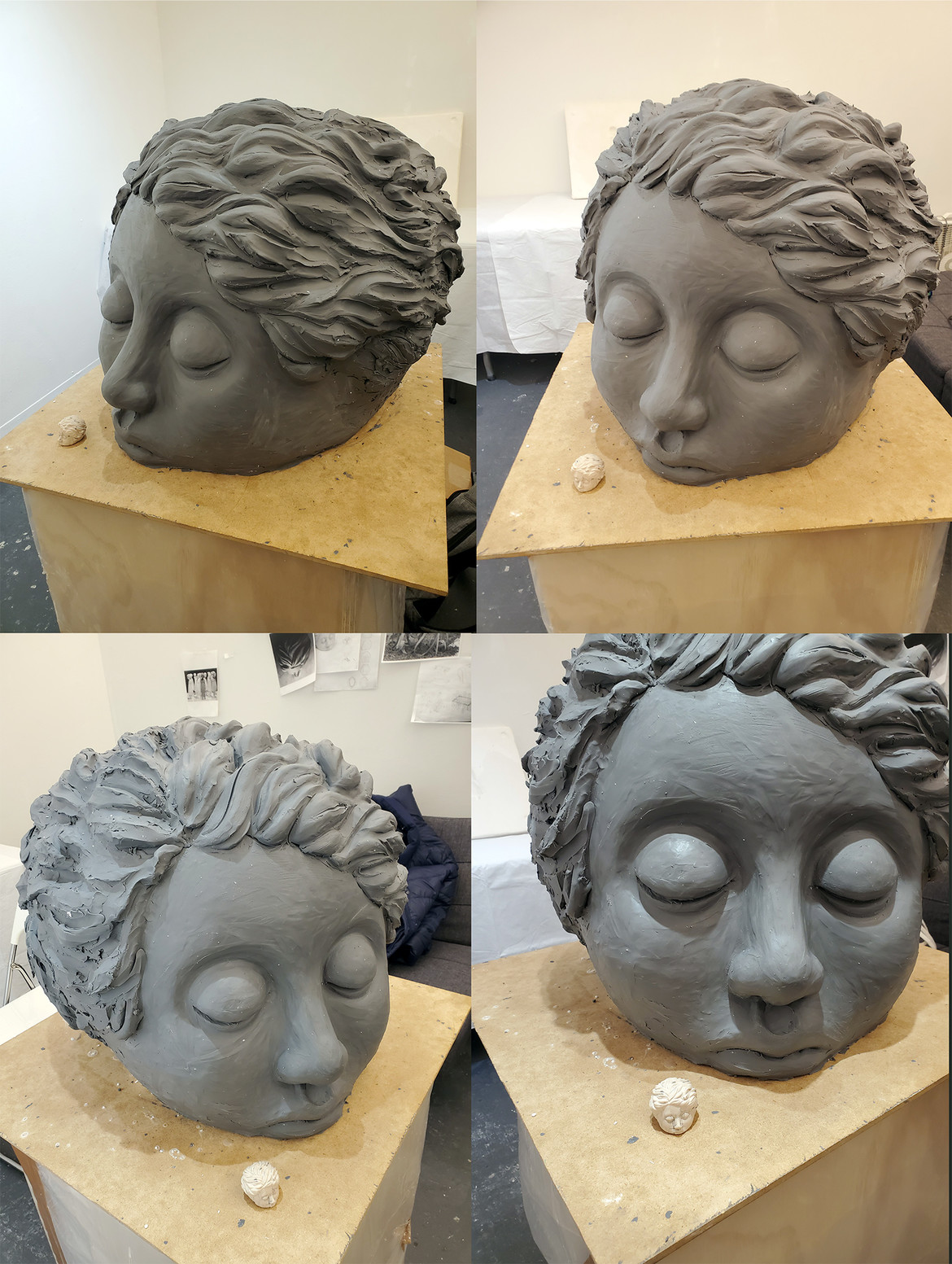 Process photos, Monumental clay head in progress for mold, and original reference head sculpture.