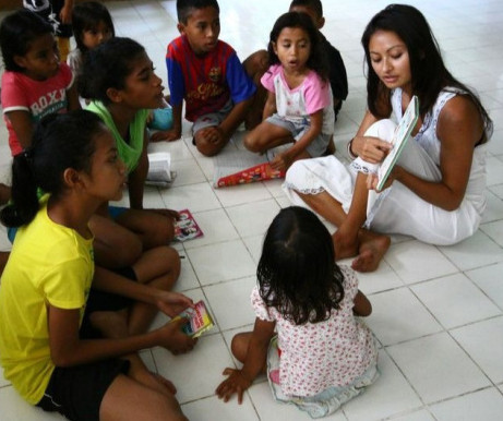 Teaching English at a local orphanage