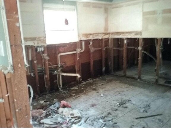 Inside of the house after water damage