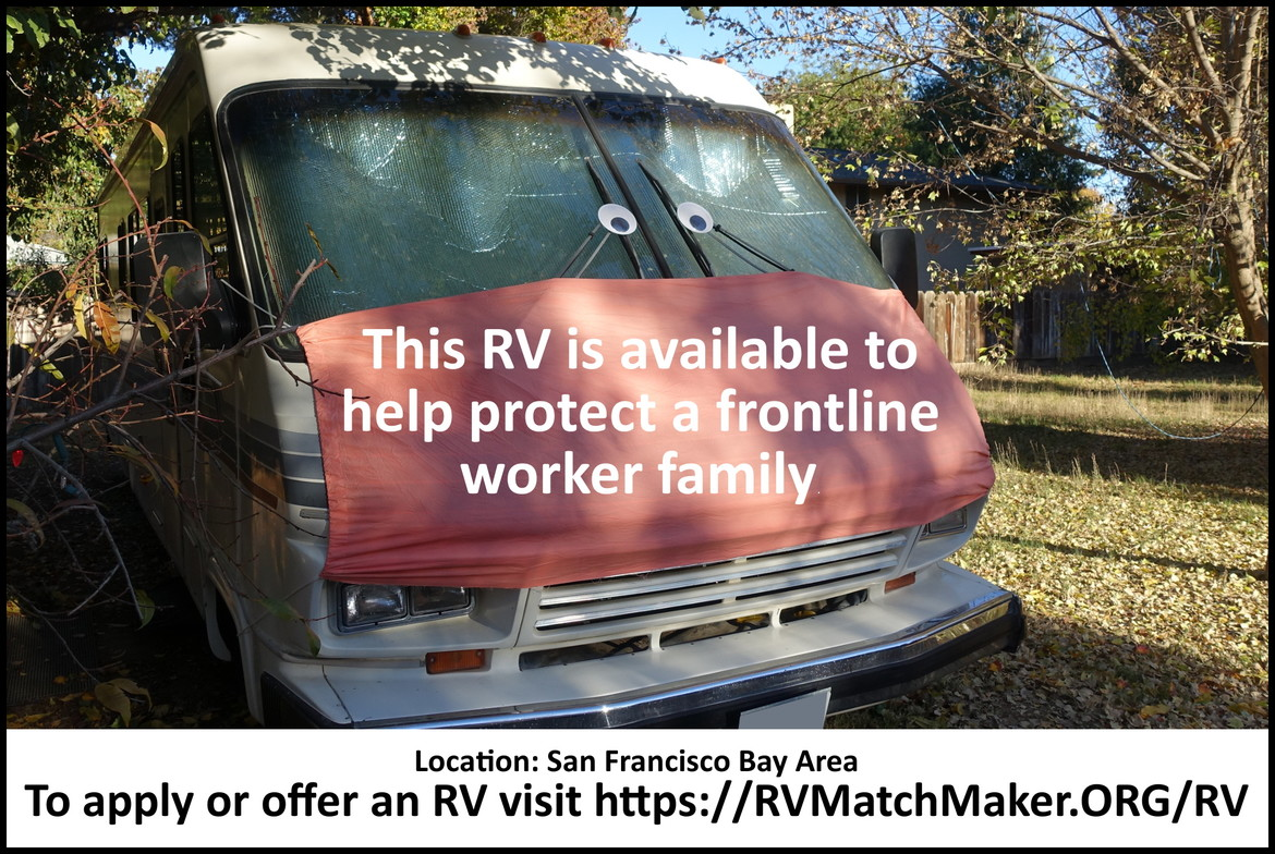 This RV is available to help protect a frontline worker family.