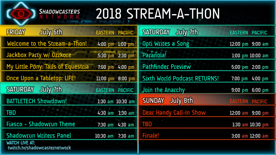 2018 Stream-a-Thon Schedule